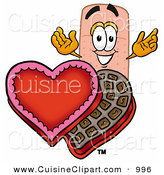 Cuisine Clipart of an Adhesive Bandaid Bandage Mascot Cartoon Character with an Open Box of Valentines Day Chocolate Candies by Toons4Biz