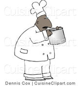 Cuisine Clipart of an African American Male Chef Smelling Food in a Cooking Pot by Djart