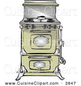 Cuisine Clipart of an Antique Retro Kitchen Stove and Oven by Djart