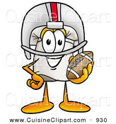 Cuisine Clipart of an Athletic Chefs Hat Mascot Cartoon Character in a Helmet, Holding a Football by Toons4Biz