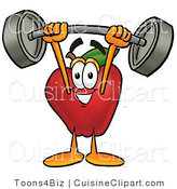 Cuisine Clipart of an Athletic Nutritious Red Apple Character Mascot Holding a Heavy Barbell Above His Head by Toons4Biz
