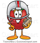 Cuisine Clipart of an Athletic Red Apple Character Mascot in a Helmet, Holding a Football by Toons4Biz