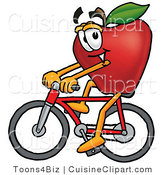 Cuisine Clipart of an Athletic Red Apple Character Mascot Riding a Bicycle by Toons4Biz