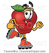 Cuisine Clipart of an Athletic Red Apple Character Mascot Roller Blading on Inline Skates by Toons4Biz
