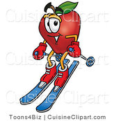 Cuisine Clipart of an Athletic Red Apple Character Mascot Skiing Downhill by Toons4Biz