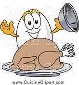 Cuisine Clipart of an Egg Serving Roasted Thanksgiving Turkey by Toons4Biz