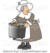 Cuisine Clipart of an Elderly Heavyset Pilgrim Woman Cooking with a Metal Kitchen Pot by Djart