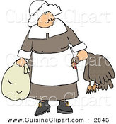 Cuisine Clipart of an Elderly Pilgrim Woman Carrying a Dead Turkey by Its Neck and Looking Forward by Djart