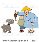 Cuisine Clipart of an Obese Boy Watching Mom Feed Pet Dog a Turkey Leg by Djart