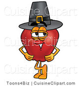 Cuisine Clipart of an Old Fashioned Red Apple Character Mascot Wearing a Pilgrim Hat on Thanksgiving by Toons4Biz