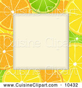 Cuisine Clipart of an Orange Lime and Lemon Slice Frame with Text Space by Elaineitalia