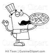 Cuisine Clipart of an Outlined Pizza Chef by Hit Toon