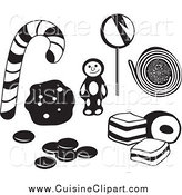 Cuisine Clipart of Black and White Cookies and Candy by Prawny