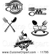 Cuisine Clipart of Black and White Dining and Restaurant Silverware Designs by Vector Tradition SM