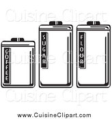 Cuisine Clipart of Black and White Food Storage Canisters by Andy Nortnik
