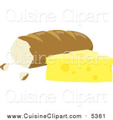 Cuisine Clipart of Bread Beside Cheese by Rosie Piter