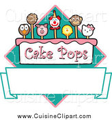 Cuisine Clipart of Cake Pops over a Banner and Diamond by Toons4Biz