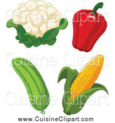 Cuisine Clipart of Cauliflower, Bell Pepper, Cucumber and Corn by Pushkin