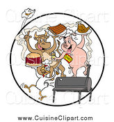 Cuisine Clipart of Cow, Pig and Chicken Dancing with Ribs Burgers and Poultry at a Bbq by LaffToon