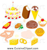 Cuisine Clipart of Desserts Dairy and Meat in a Circle by Alex Bannykh