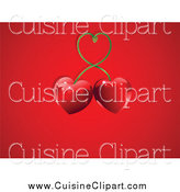Cuisine Clipart of Double Red Heart Cherries on Red by Pushkin