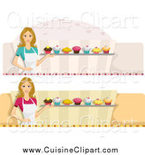 Cuisine Clipart of Female Cupcake Baker Website Banners by BNP Design Studio