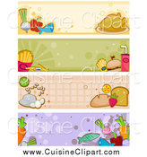 Cuisine Clipart of Four Food Banners by BNP Design Studio