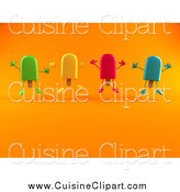 Cuisine Clipart of Ice Lolly Popsicle Characters Jumping over Orange by Julos