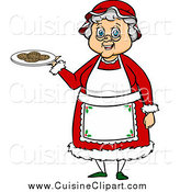 Cuisine Clipart of Mrs Claus Holding a Plate of Cookies by Cartoon Solutions