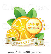 Cuisine Clipart of Orange Slices and Natural and Guaranteed Text by Merlinul