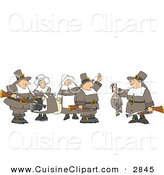 Cuisine Clipart of Pilgrim Females Watching Pilgrim Bird Hunters with a Dead Turkey by Djart
