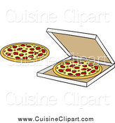 Cuisine Clipart of Pizzas and a Box by Cartoon Solutions