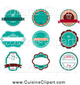 Cuisine Clipart of Retro Turquoise Round Restaurant Labels by Vector Tradition SM