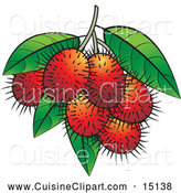 Cuisine Clipart of Ripe Rambutan Fruits by Lal Perera
