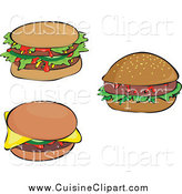 Cuisine Clipart of Sloppy Double and Single Hamburgers by Prawny