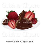 Cuisine Clipart of Strawberries with Chocolate by Randomway