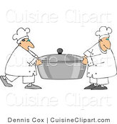 Cuisine Clipart of Two Cooks Carrying a Large Oversized Pot of Food by Djart