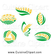 Cuisine Clipart of Wheat and Green Leaves by Vector Tradition SM