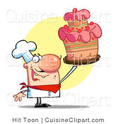 Cuisine Vector Clipart of a Baker Holding up a Cake by Hit Toon