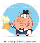 Cuisine Vector Clipart of a Bar Tender or Waiter Pig by Hit Toon