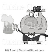 Cuisine Vector Clipart of a Black and White Waiter Swine Serving a Mug of Frothy Beer by Hit Toon