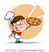 Cuisine Vector Clipart of a Boy Serving a Pizza Pie by Hit Toon