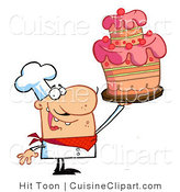 Cuisine Vector Clipart of a Chef Holding a Layered Cake by Hit Toon