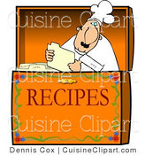 Cuisine Vector Clipart of a Chef Reading a Recipe in a Box by Djart