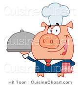 Cuisine Vector Clipart of a Chef Waiter Pig by Hit Toon