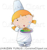 Cuisine Vector Clipart of a Cute Female Chef Girl Holding a Plate of Hot Food by YUHAIZAN YUNUS