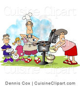 Cuisine Vector Clipart of a Family Cooking at a Barbeque by Djart