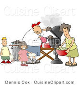 Cuisine Vector Clipart of a Family Grilling on a Bbq by Djart