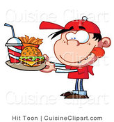 Cuisine Vector Clipart of a Fast Food Boy Licking His Lips by Hit Toon