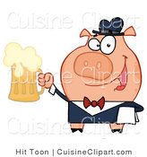 Cuisine Vector Clipart of a Friendly Pig Waiter Smiling and Serving a Mug of Frothy Beer by Hit Toon